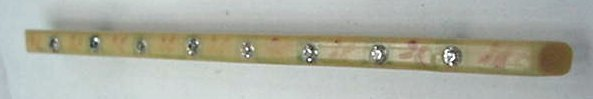 Old Victorian Painted Ivory Bar Pin Rhinestones or Diamonds