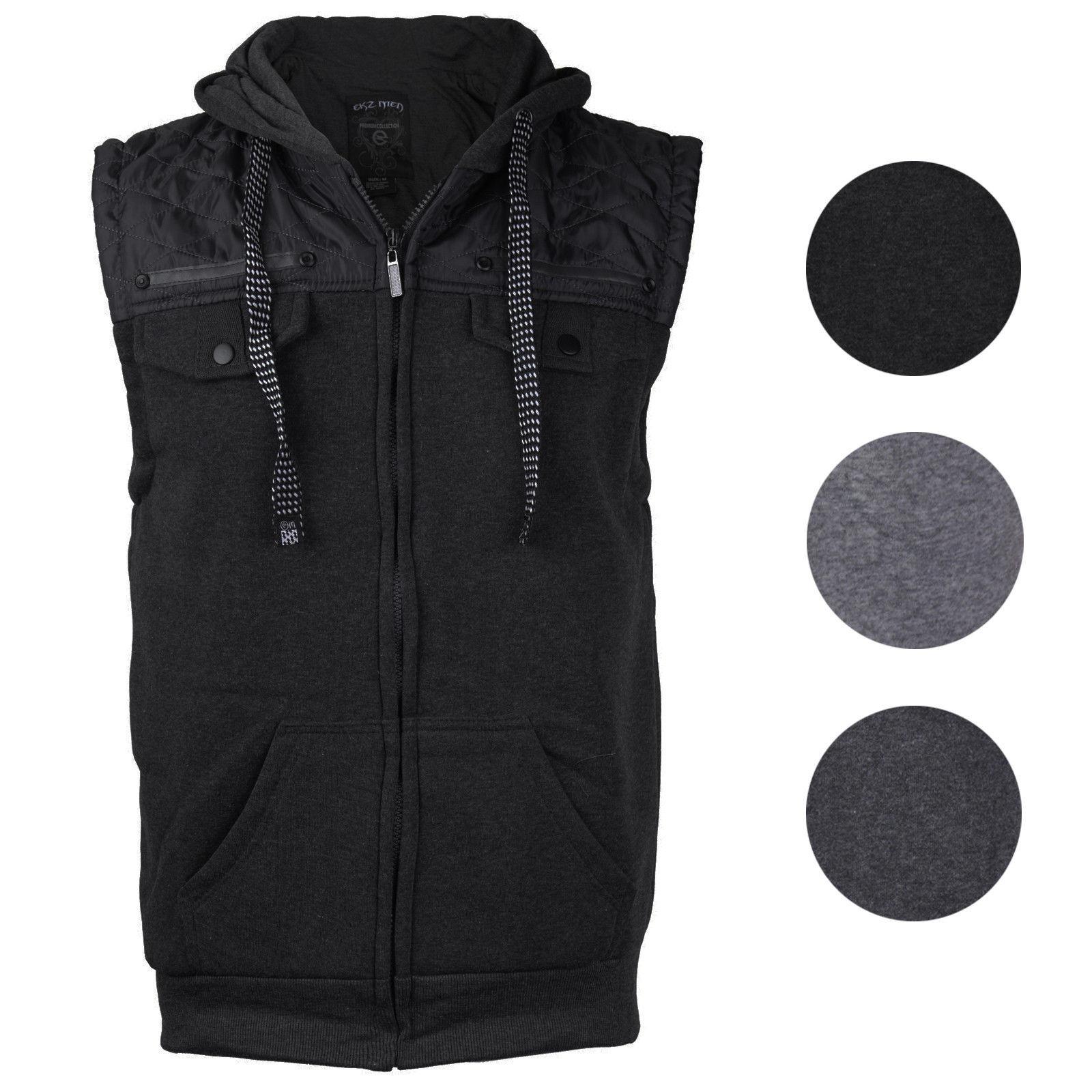 EKZ Men's Casual Zip Up Drawstring Hooded Athletic Sports Fashion Vest EK1645VK