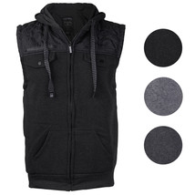 EKZ Men's Casual Zip Up Drawstring Hooded Athletic Sports Fashion Vest EK1645VK