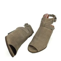 """LUCKY BRAND """"Harum"""" Taupe Bridle LeatherPeep Toe Open Back Booties Size 8 Med image 6"""
