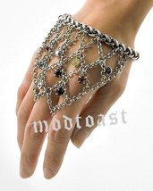 Hand Chain Ring Bracelet Webbed Crystals Antiqu... - $22.99