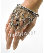 Hand Chain Ring Bracelet Webbed Crystals Antique Silver Belly Dance Boll... - $22.99