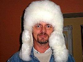 White fur cap, hat is made alpaca fur, outdoor  - $138.00