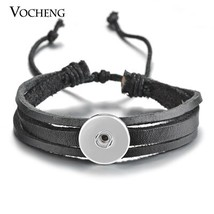 10PCS/Lot 18mm Vocheng Snap Button Charms Bracelet Black Brown Genuine L... - $54.42