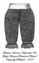 1901 Victorian Pantaloon Knit Pattern DIY Edwardian Ladys Drawers Reenac... - $4.99