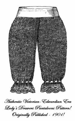 1901 Victorian Pantaloon Knit Pattern DIY Edwardian Ladys Drawers Reenactment
