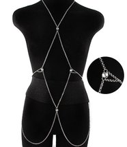 Body Chain Geometric Boho Silver Draping Chains... - $16.00