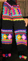 Ethnic peruvian wool knitted kid scarf,pure Alpacawool  - $26.00