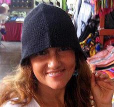 Fancy black hat, cap made of Alpacawool  - $19.00