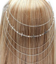 Head Chain Boho Coachella Hair Comb Cross Women Body Bridal Silver Cryst... - $12.99
