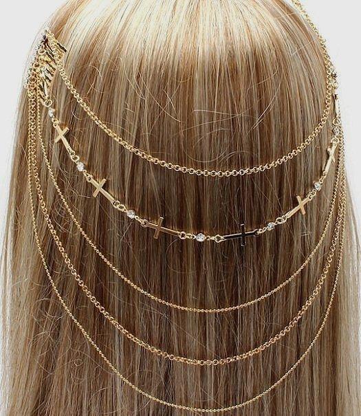 Head Chain Boho Coachella Hair Comb Cross Women Body Bridal Gold Crystal Studs
