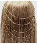Cross Head Chain Hair Comb Crystals Chains Boho Gold Avant Garde Accessory - $16.00