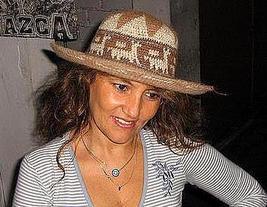Brown summer hat from Peru, Alpaca fabric cap - $38.00