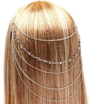 Head Chain Hair Comb Coachella Boho Wedding Iridescent Silver Crystal St... - $14.99