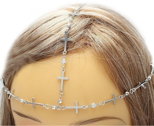 Cross Head Armor Chain Crystals Bohemian Indie Boho Crystal Hair Accessory