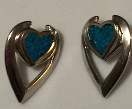 Silver Turquoise Pierced Earrings Stamped Vintage Collectible - $6.98