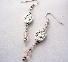Victorian Inspired Cameo Drop Earrings Pink - $15.00