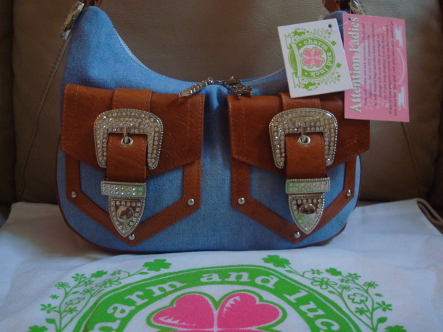 Charm and Luck Denim Crystal Hobo with Leather Trim