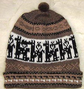 Brown beanie woolen hat, alpaca wool cap