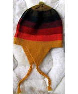 Rainbow Chullo, Woolly Hat with ear flaps,alpacawool - $18.00