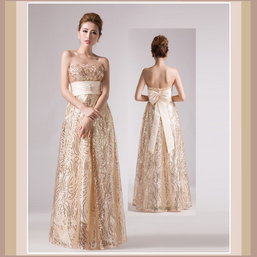 Princess Silk Layers Strapless Empire Waist Gold Sequin Apricot Lace Formal Gown