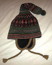 Ethnic peruvian Chullo, Woolly Hat with ear flaps, hand embr - $48.00