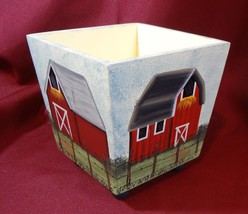 Hand Painted Wooden Barn Planter Signed One of a Kind  - $4.99