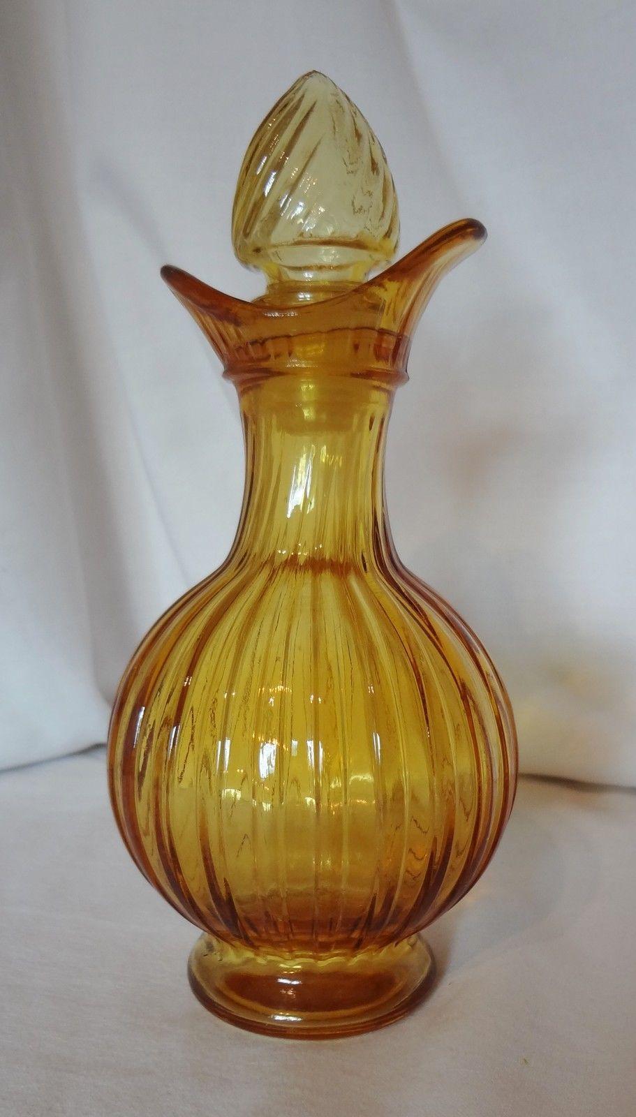avon amber ribbed cruet glass decanter bottle with glass stopper bottles. Black Bedroom Furniture Sets. Home Design Ideas