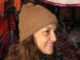 Brown Beanie hat made of alpaca wool, cap  - $24.00