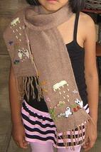 Brown embroidered scarf, shawl made of Alpaca wool   - $29.00