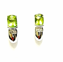 14K White Gold Peridot Cushion & Diamond Square Stud Earrings, 2.70CTS, 3.2 GR - $145.00