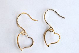 Antique Gold Plated Cutout Heart Earrings 12mm - $18.50