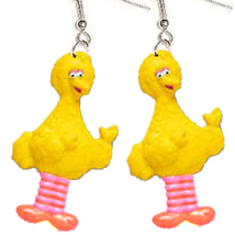 BIG BIRD EARRINGS-Sesame Street Charm Funky Novelty Jewelry-BODY - $5.97