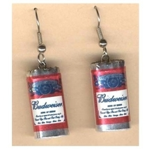 BUDWEISER BUD BEER CAN EARRINGS-King of Beers Funky Punk Jewelry - $6.97