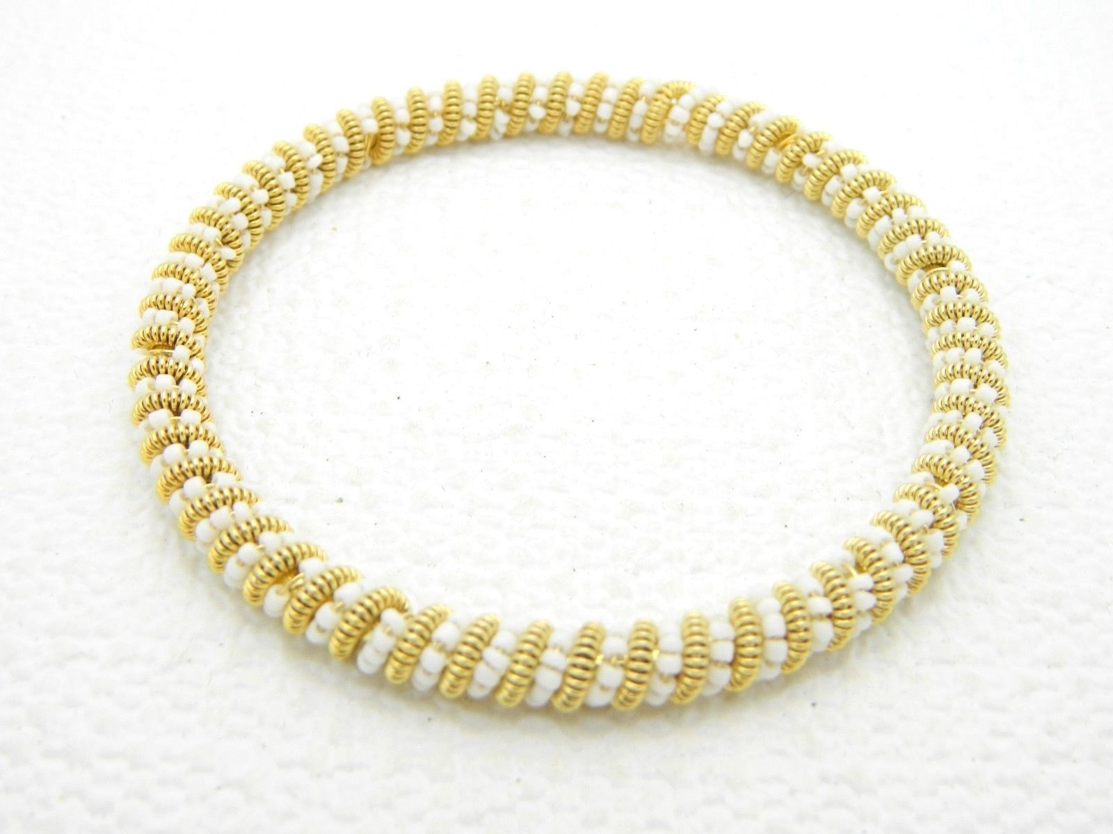 VTG Gold Tone White Glass Bead Twist Bangle Bracelet