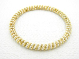 VTG Gold Tone White Glass Bead Twist Bangle Bracelet image 1