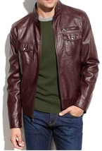 Mens Maroon Genuine Handmade Real Bespoke Cowhide  Black Genuine Leather Jacket - $118.79+