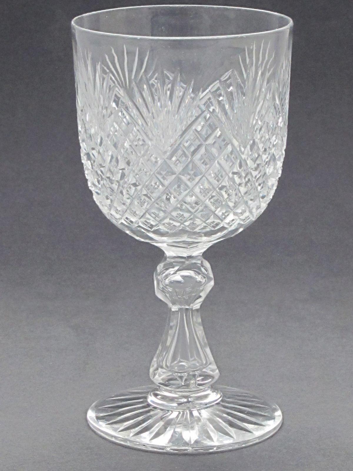 Cut glass Goblet  ANTIQUE HAND CUT crystal ABP Strawberry diamond fan - $64.20