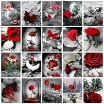 Evershine 5D Diamond Painting Rose Flower Diamond Embroidery Black And W... - $20.59+