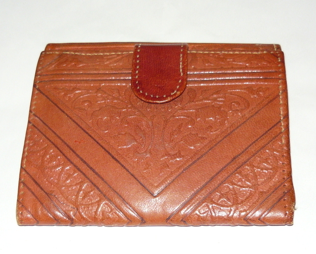Vintage Hand Tooled Moroccan Leather Brown Wallet