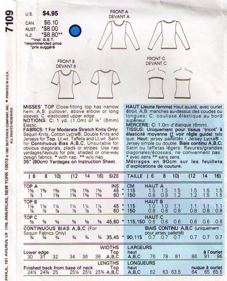 Vintage 1987 Vogue Pattern 7109 KNIT TOPS / TUBE TOP Misses' Size 6-8-10 UNCUT