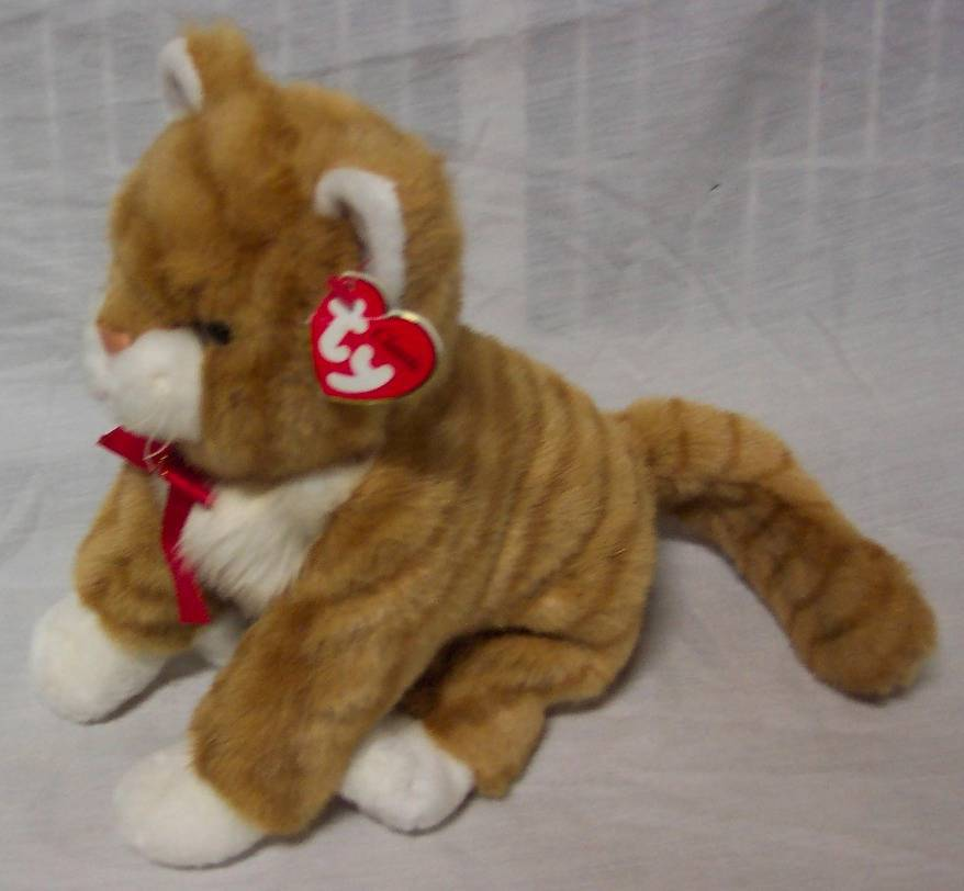 "TY Classic NICE SOFT ORANGE TABBY CAT KITTY 10"" Plush STUFFED ANIMAL Toy NEW"