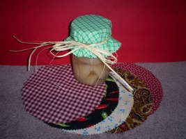 Handmade Canning Jar Covers with Labels and Raffia Ties, Set of Ten Asso... - $3.00