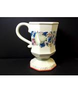 Avon Pedestal coffee mug Sweet Country Harvest fruit & berries pink rim ... - $6.76
