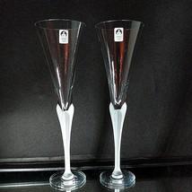 2 VTG SASAKI AEGEAN FROST Lead Crystal Toasting Champagne Flutes UNUSED D/C - $52.24
