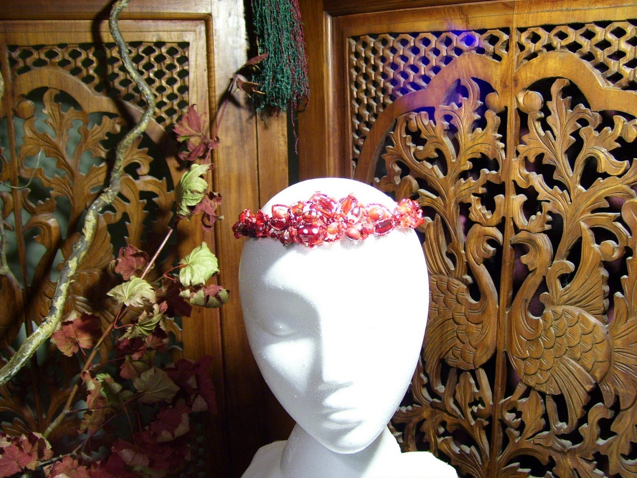 Crimson Goddess Circlet, OOAK, SCA, Pagan, Wiccan