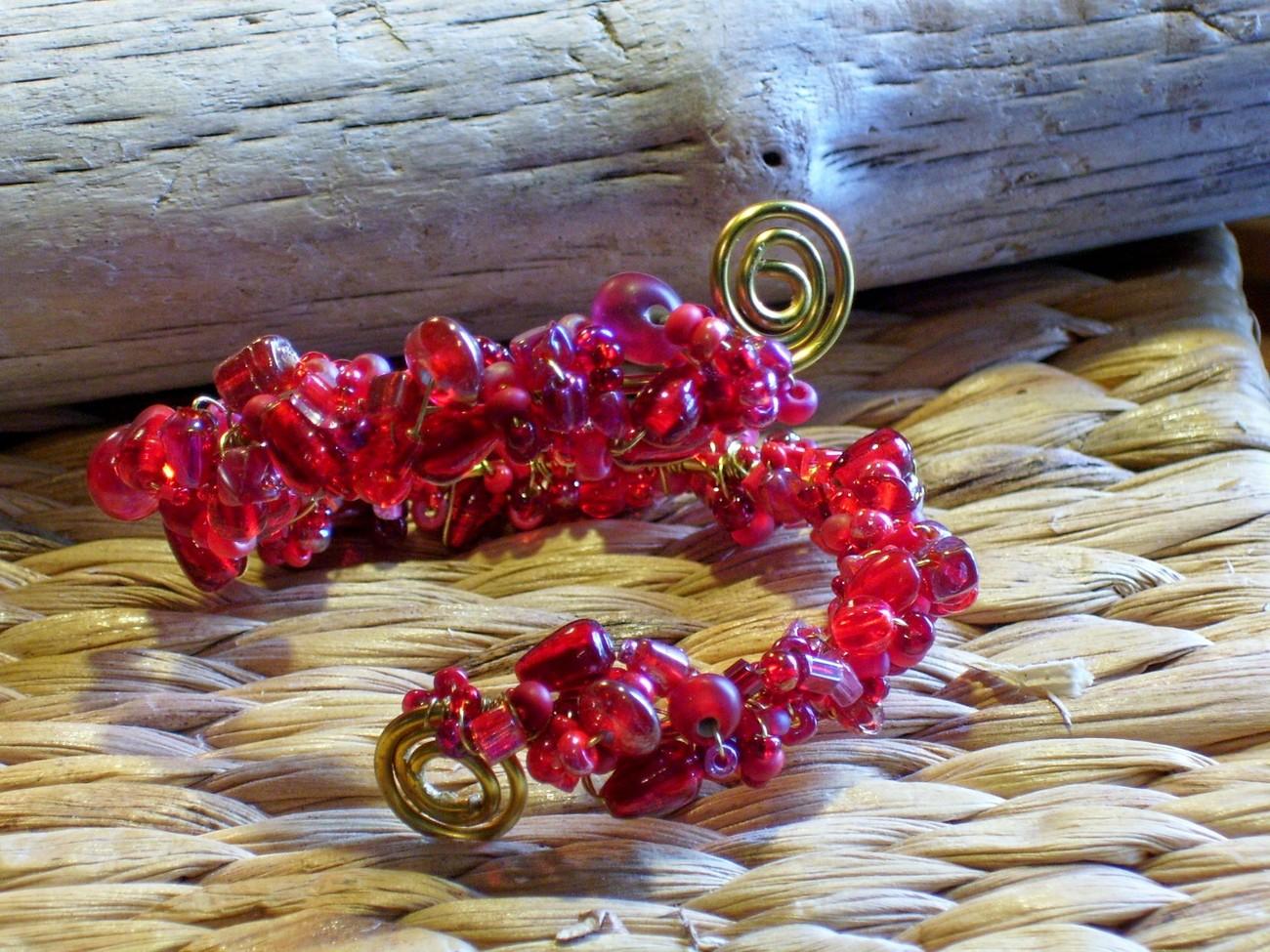 Red Spiral Bracelet, OOAK