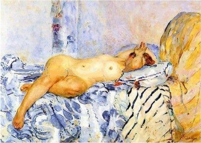 Nude On Spanish Blanket  By Henri Lebasque Repro Hand-made Canvas Oil Painting