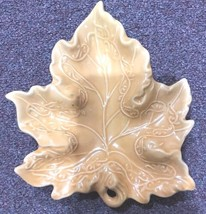"""Ceramic Brown Leaf Snack Candy Cookie Dish 7"""" - £10.78 GBP"""