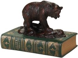 Sculpture Statue MOUNTAIN Rustic Bear on Rocks Book Green - $189.00